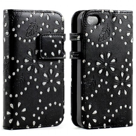 Kiko Wireless Iphone 4S 4 Diamond Flip Leather Wallet Business Id Bank Credit Card Slot Holder Case Stylish Cover Unique Design Shinning Flower Fashion Glitter Stand For Apple Iphone 4 4S