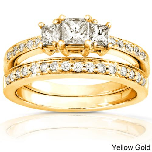 Annello 14k Gold 5/8ct TDW Princess Diamond Bridal Set (H-I, I1-I2) Yellow - Size 7