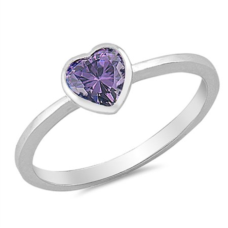 Sterling Silver Stunning Women's Flawless Simulated Amethyst Cubic Zirconia Heart Solitaire Ring (Sizes 2-10) (Ring Size 3) Amethyst Heart Shape Solitaire