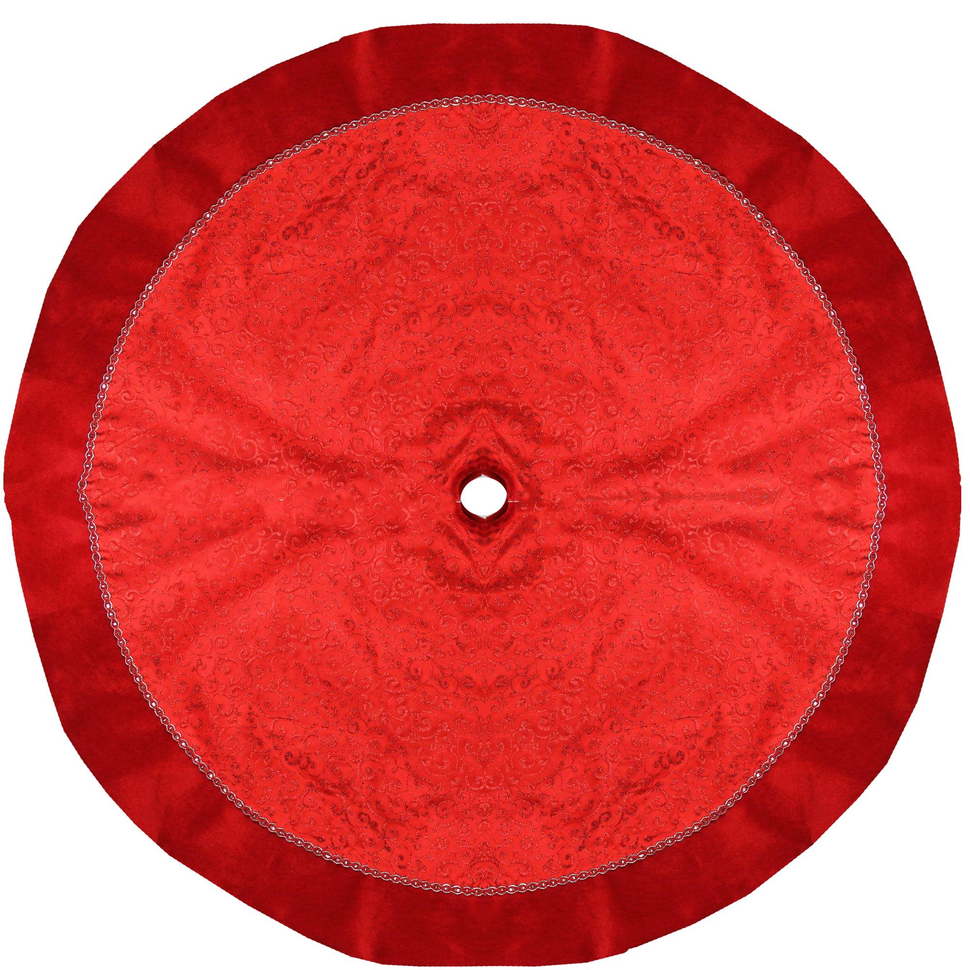 """48"""" Red Glittered Swirl Sheer Organza Christmas Tree Skirt with Velvet Trim"""