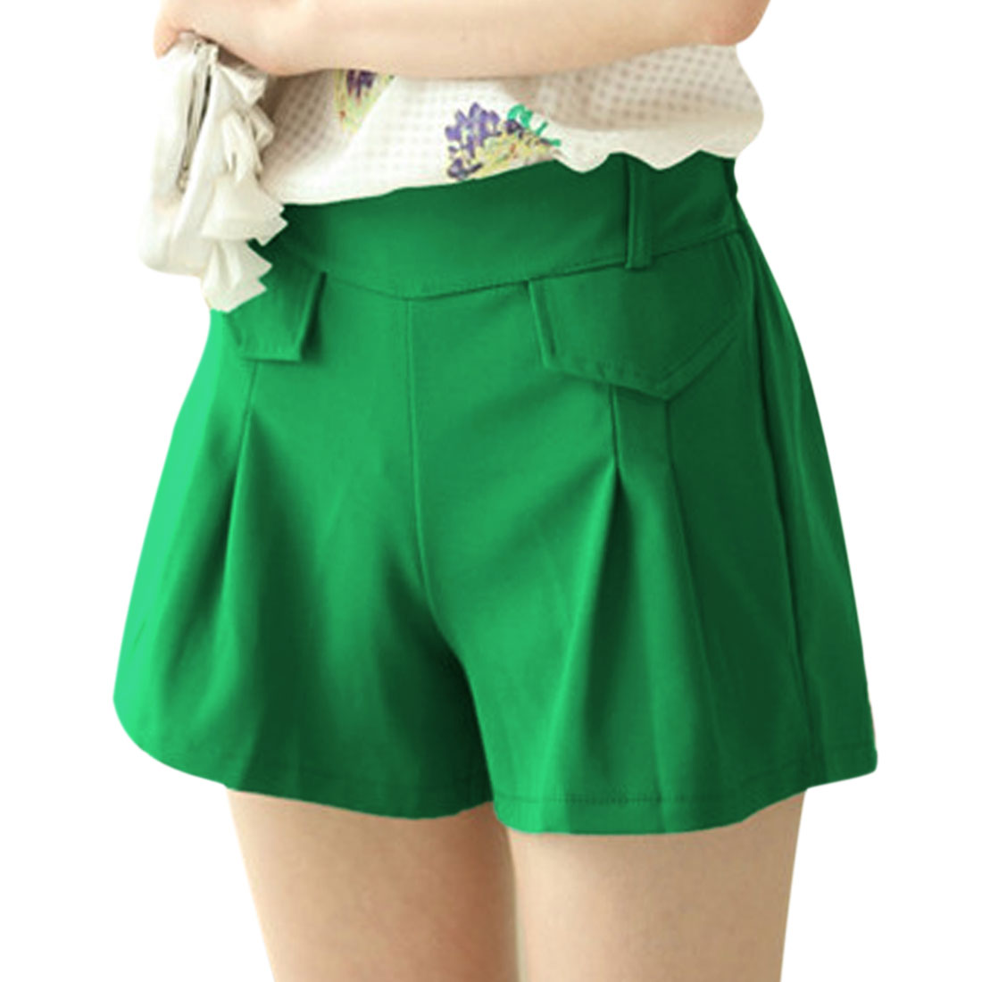 Women's Stretchy Waist Mid Rise Flap Design Casual Shorts Warm