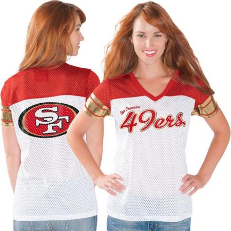 sports shoes b6ae4 4ccf5 San Francisco 49ers Women's White Pass Rush Mesh T-Shirt ...