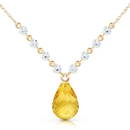ALARRI 11.3 Carat 14K Solid Gold Mermaids Singing Citrine Diamond Necklace with 22 Inch Chain Length.