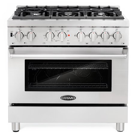 Cosmo Ranges COS-DFR366 36 in. Dual Fuel Range with 6 Italian Made Burners and Convection (Best Dual Fuel Range 2019)