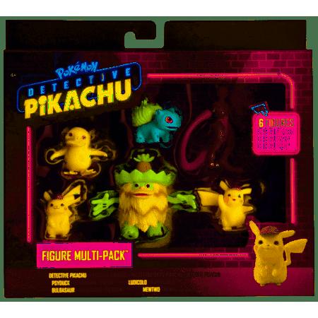 Pokemon Detective Pikachu 6 Figure Multipack- Two 2u0022 Detective Pikachu figures | 2u0022 Psyduck, 2u0022 Bulbasaur, 3u0022 Mewtwo and 3u0022 Ludicolo