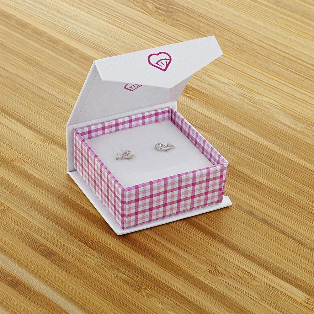 925 Sterling Silver Pink Cubic Zirconia Screw Back Fish Earrings for Girls Teens - image 3 de 5