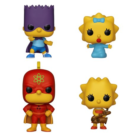 Funko POP! Animation Simpsons Collectors Set 1 - Homer Radioactive Man, Bart Bartman, Lisa with Saxophone, Maggie (Homer Simpson Radioactive Man)