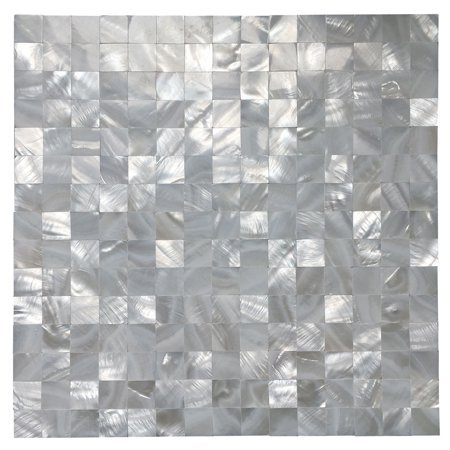 "Art3d Self-adhesive Mother of Pearl Shell Mosaic Peel and Stick Kitchen Backsplash Tile, 12"" x 12"" White Square(1 Piece)"