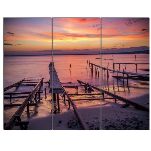 Design Art 'Fishing Pier in Sea at Sunset' 3 Piece Photographic Print on Wrapped Canvas Set