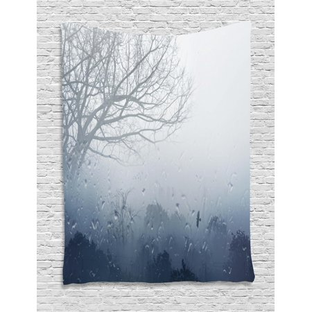 Forest Tapestry, Raindrops Mystic Foggy Scenery Romantic Window Water Melancholia Therapy Lonely Tree, Wall Hanging for Bedroom Living Room Dorm Decor, Gray Denim, by Ambesonne
