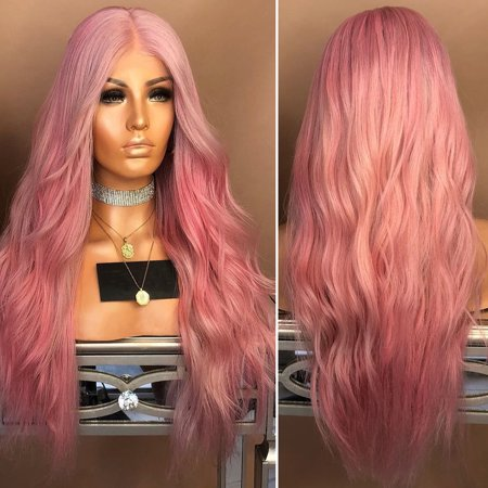 Fashion Lady Long Curly Wavy Full Synthetic Hair Ombre Pink Glueless Middle Part Heat Resistant Fancy Dress Halloween Cosplay Party Costume - Halloween Plays For Middle School