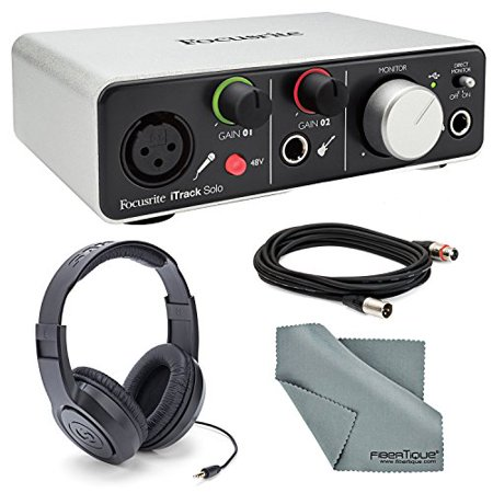 Focusrite iTrack Solo (Lightning) - USB 2.0 Audio Interface Bundle W/ XLR Cable +1/4 Inch Cable + Samson Headphones + FiberTique Cleaning (Behringer U Phoria Umc1820 Usb Audio Interface)