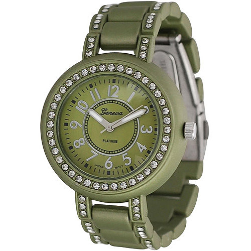 Brinley Co. Women's Rhinestone-Accented Soft-Coated Link Watch