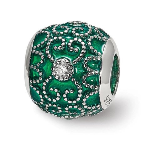 Sterling Silver Reflections CZs Green Enameled Bead - image 1 de 1