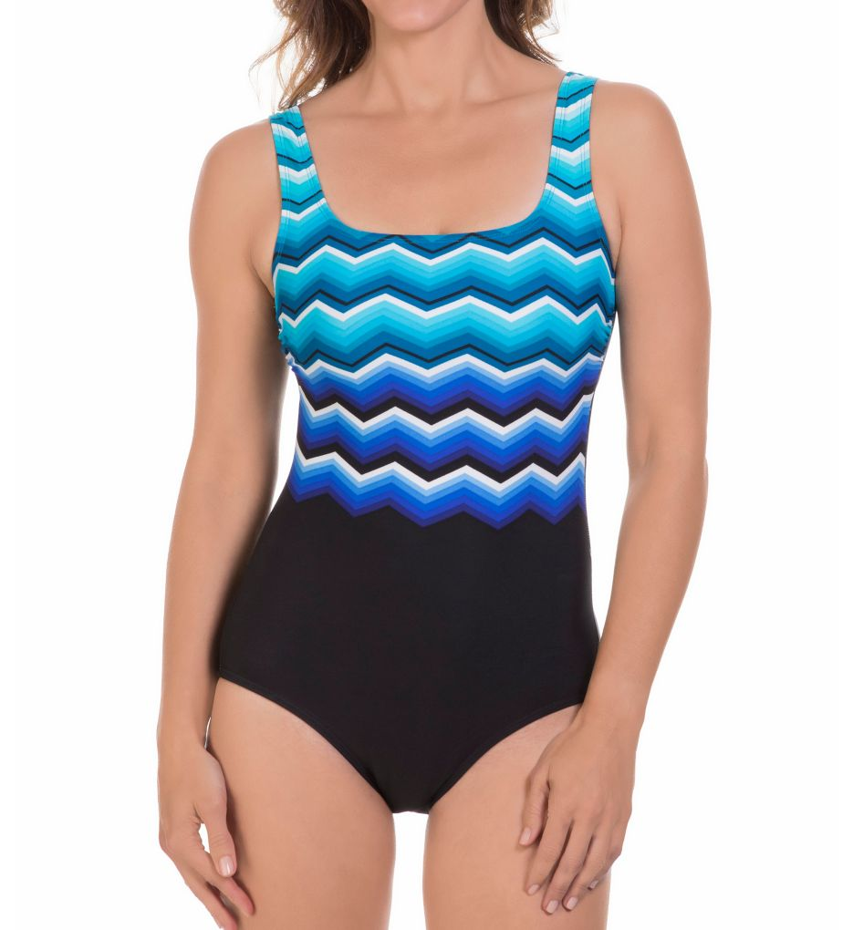 Women's Reebok 780503 Thunderstruck Square Neck One Piece Swimsuit