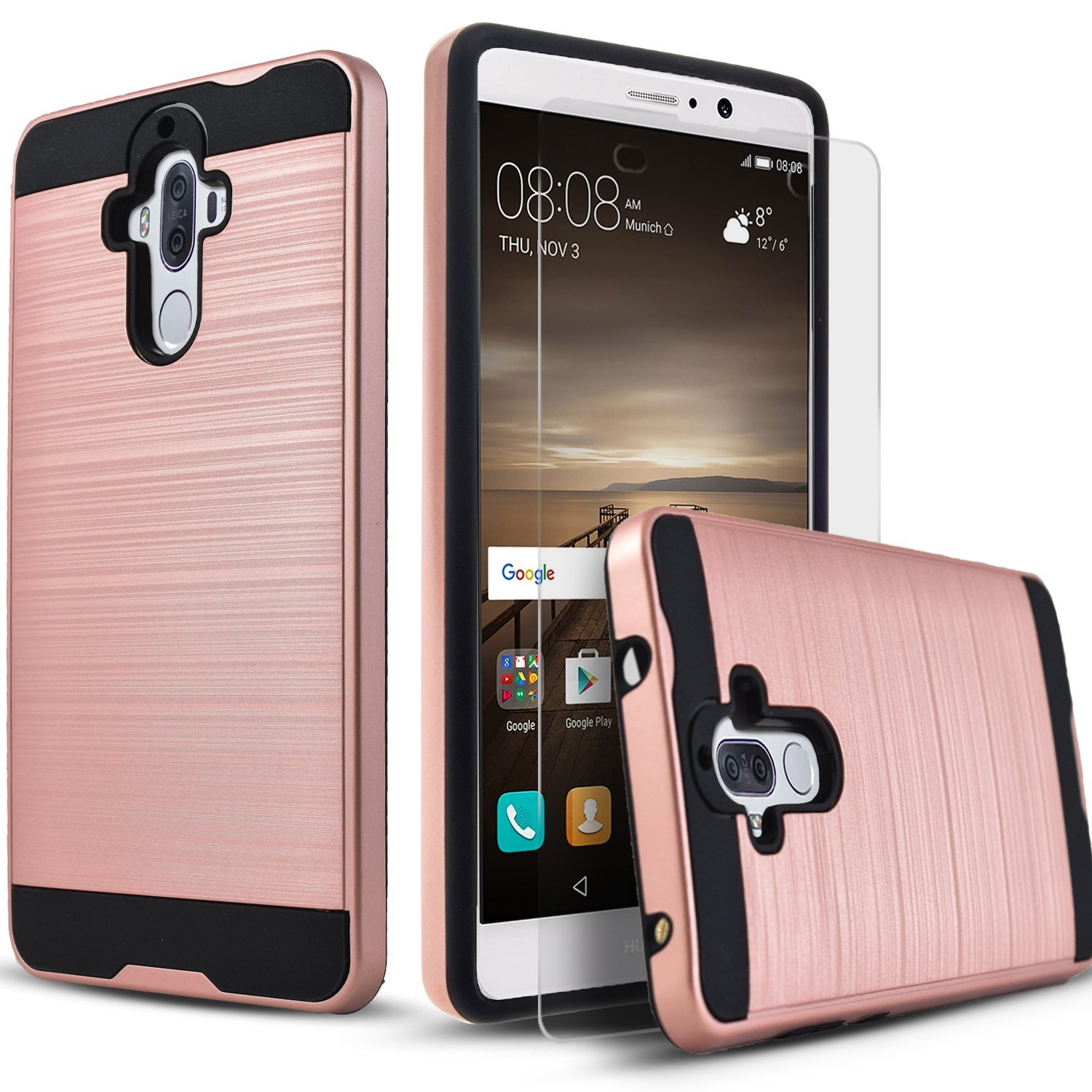 Huawei Mate 9 Case, 2-Piece Style Hybrid Shockproof Hard Case Cover with [Premium Screen Protector] + Circle(TM) Stylus Touch Screen Pen Rose Gold