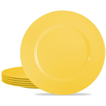 Calypso Basics, 6pc Melamine Dinner Plate Set, Lemon ()