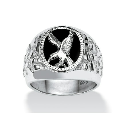 Mens Black Onyx Eagle Ring (Men's Onyx Eagle Nugget Ring in Sterling Silver)