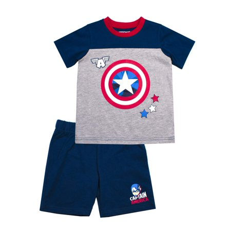 Captain America Short Sleeve Captain America Tee and French Terry Shorts, 2-Piece Outfit Set (Little Boys)