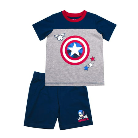 Captain America 2 Outfit (Marvel Captain America Short Sleeve Tee and French Terry Shorts, 2-Piece Outfit Set (Little)