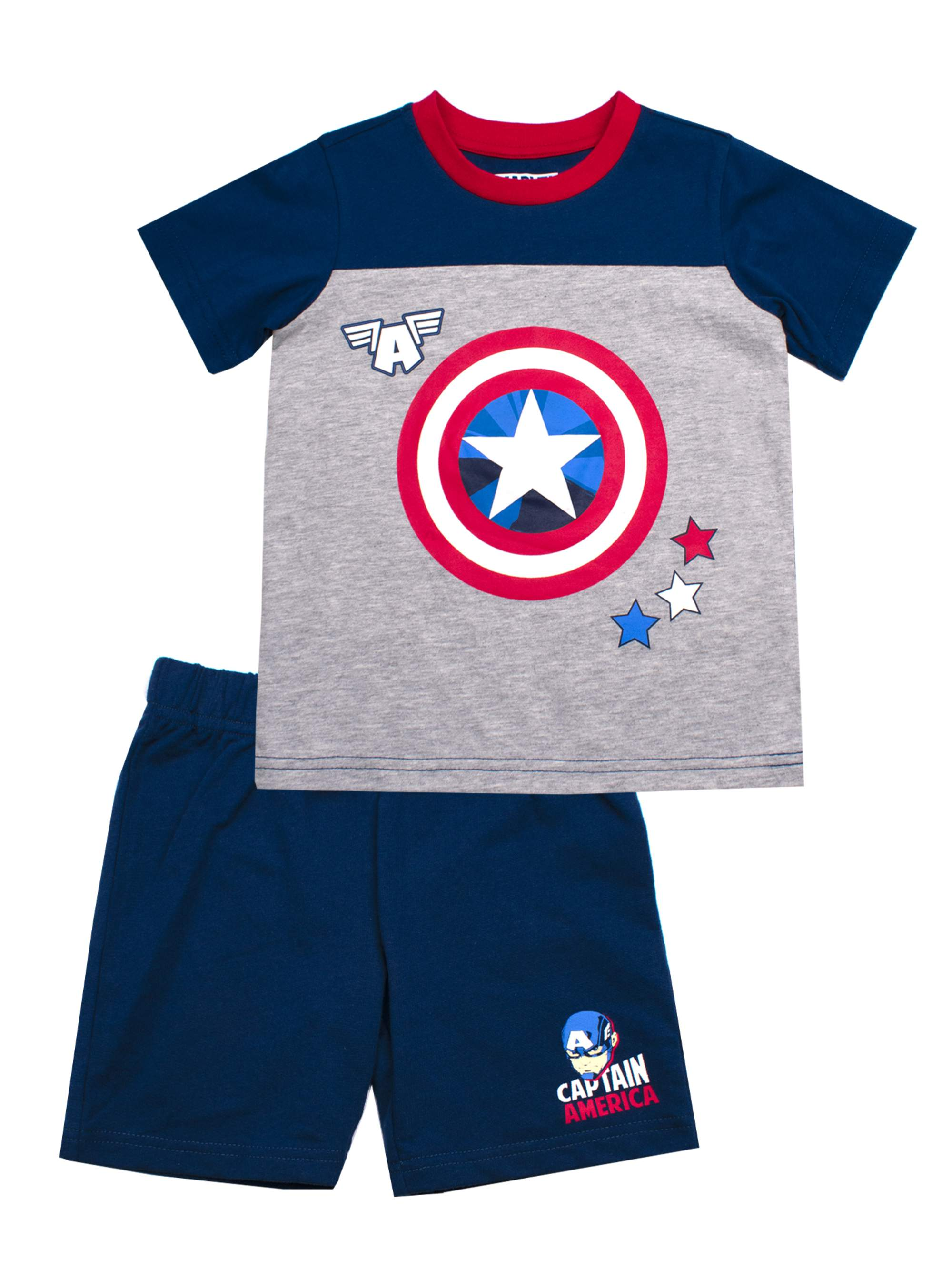 Short Sleeve Captain America Tee and French Terry Shorts, 2-Piece Outfit Set (Little Boys)