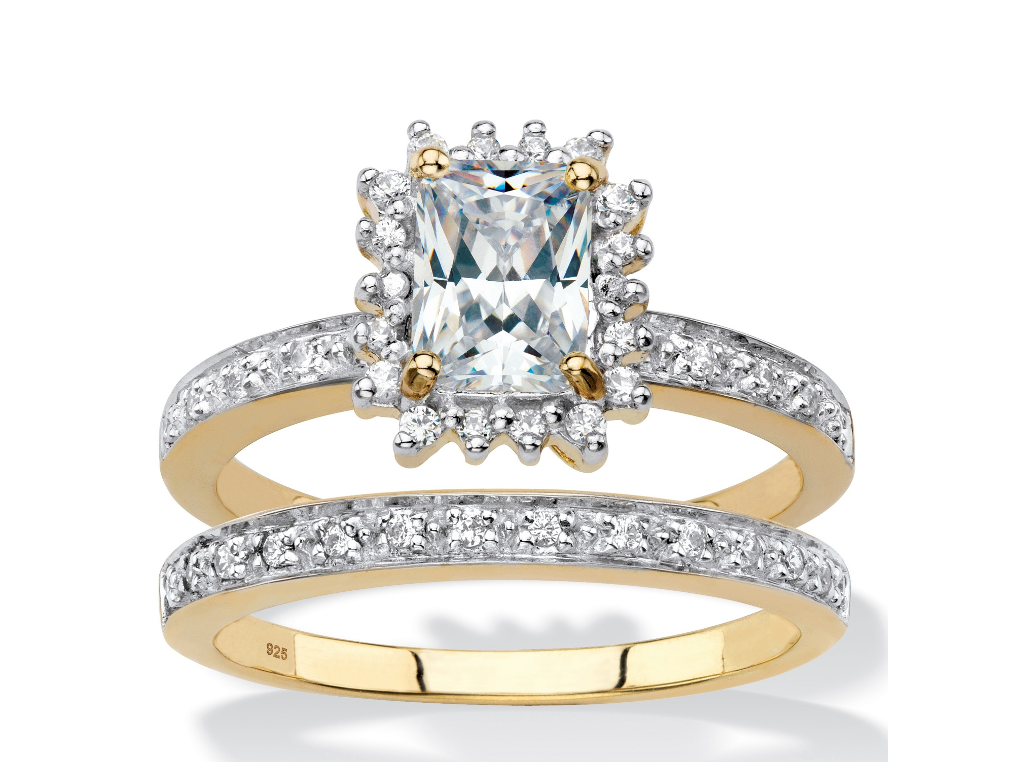 Emerald-Cut Created White Sapphire and Diamond 2-Piece Halo Wedding Ring Set 1.67 TCW in 18k Gold over Sterling Silver by PalmBeach Jewelry