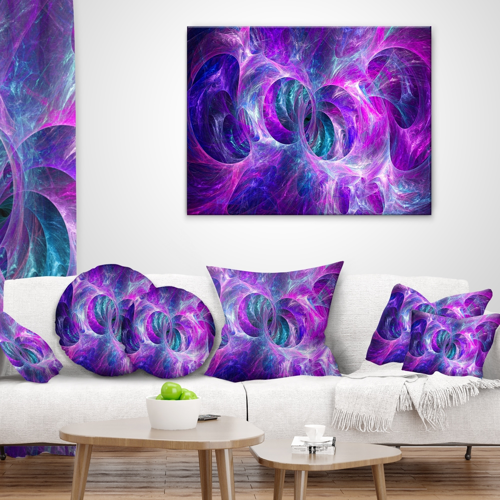 12 X 20 Designart Cu16198 12 20 Snow Purple Fractal Texture Abstract Lumbar Cushion Cover For Living Room Sofa Throw Pillow Throw Pillow Covers