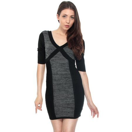 (Sexy Women Short Sleeve Bandage Cross Style Sweater Dress Bodycon Mini Dress)