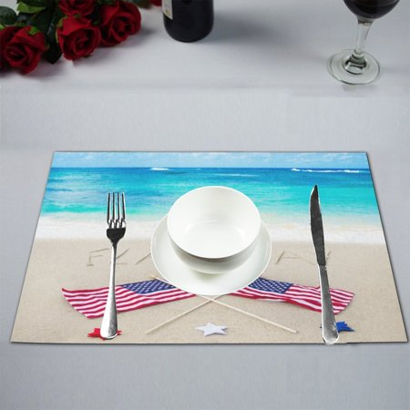MYPOP Patriotic Flag Day Background Table Placemat Food Mat 12x18 Inches Non Slip Table Mat