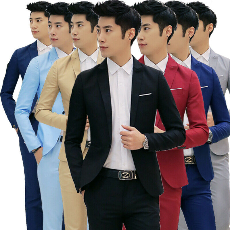 Mens Formal Slim Fit One-Button Suit Blazer Business Coat Jacket Casual Tops