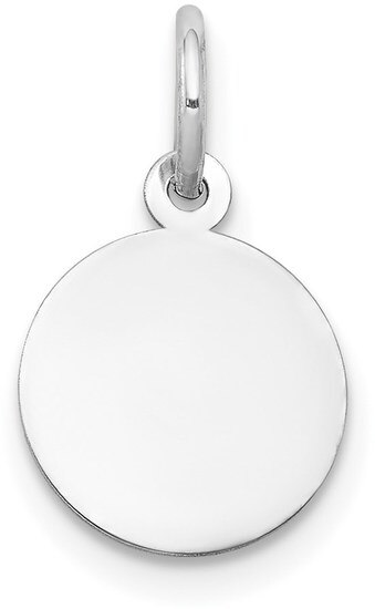 21mm x 15mm Solid 14k White Gold Plain .009 Gauge Circular Engravable Disc Charm Pendant