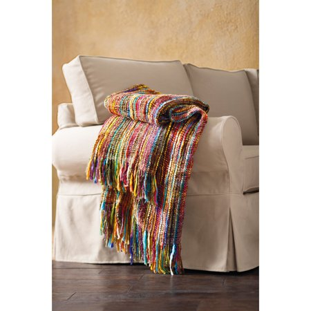 Chunky Knit Throw Blanket - Bright Colors Striped Fringe - 48