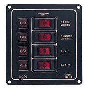Sea Dog Aluminum Vertical Rocker Switch Panel, 4 Switch