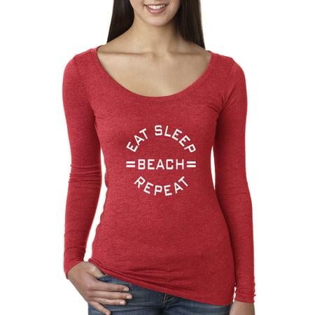 New Way 436 - Women's Long Sleeve T-Shirt Eat Sleep Beach Repeat Bum Lifestyle
