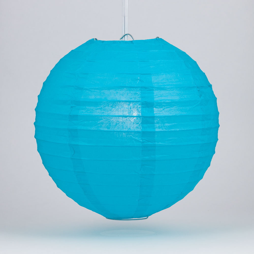 "Quasimoon 8"" Turquoise Round Paper Lantern, Even Ribbing, Hanging Decoration by PaperLanternStore"