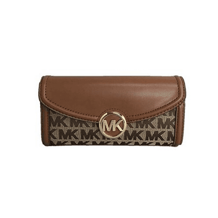 Michael Kors Fulton Signature Jacquard Large Flap Continental Wallet (2019) - Be Soho Signature Flap