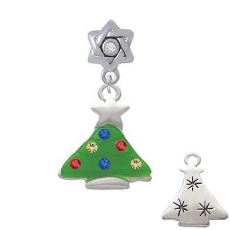 Christmas Tree Star Charm - Green Resin Christmas Tree with Crystals - Star of David with Clear Crystal Charm Bead