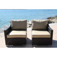 Bellini Home and Gardens Teana Wicker 2 Piece Patio Deep Seating Sectional Chair Set