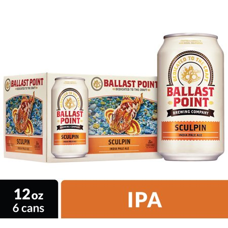 Ballast Point Sculpin IPA Craft Beer, 6 pk 12 fl oz Cans, 7 0% ABV