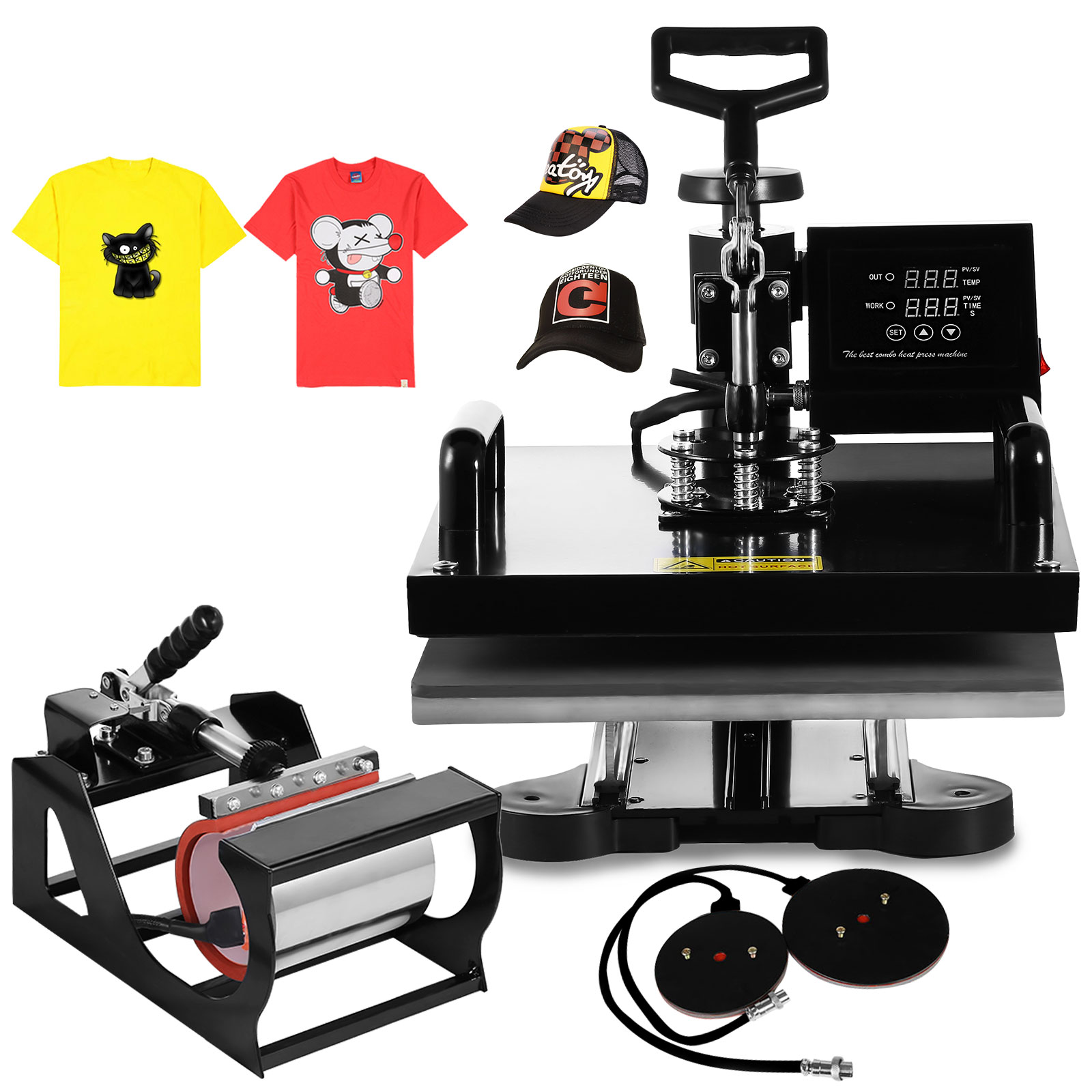 VEVOR Heat Press 15 X 15 Inch 5 in 1 Desktop Iron Baseball Hat Press Multifunction Sublimation Heat Press Machine Digital Swing Away Design
