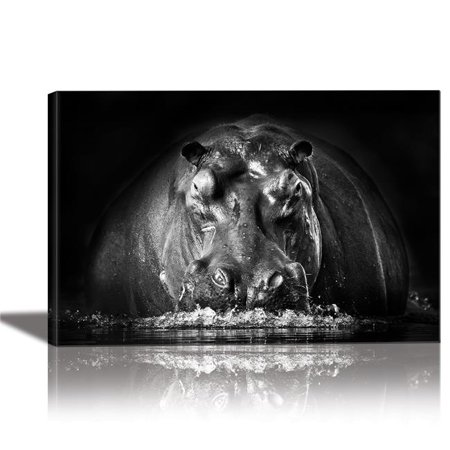 Eurographics Canvas Wall Art: Black and Whithe Hippo Painting Artwork for Home Decor Framed 24x36 inches (Hippo Painting)