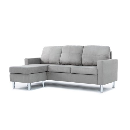Mobilis Modern Reversible Small Space Configurable Microfiber Sectional, Grey