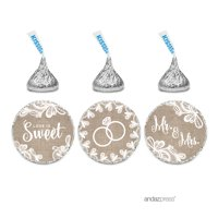Burlap Lace Wedding Hershey´s Kiss Stickers, 216-Pack