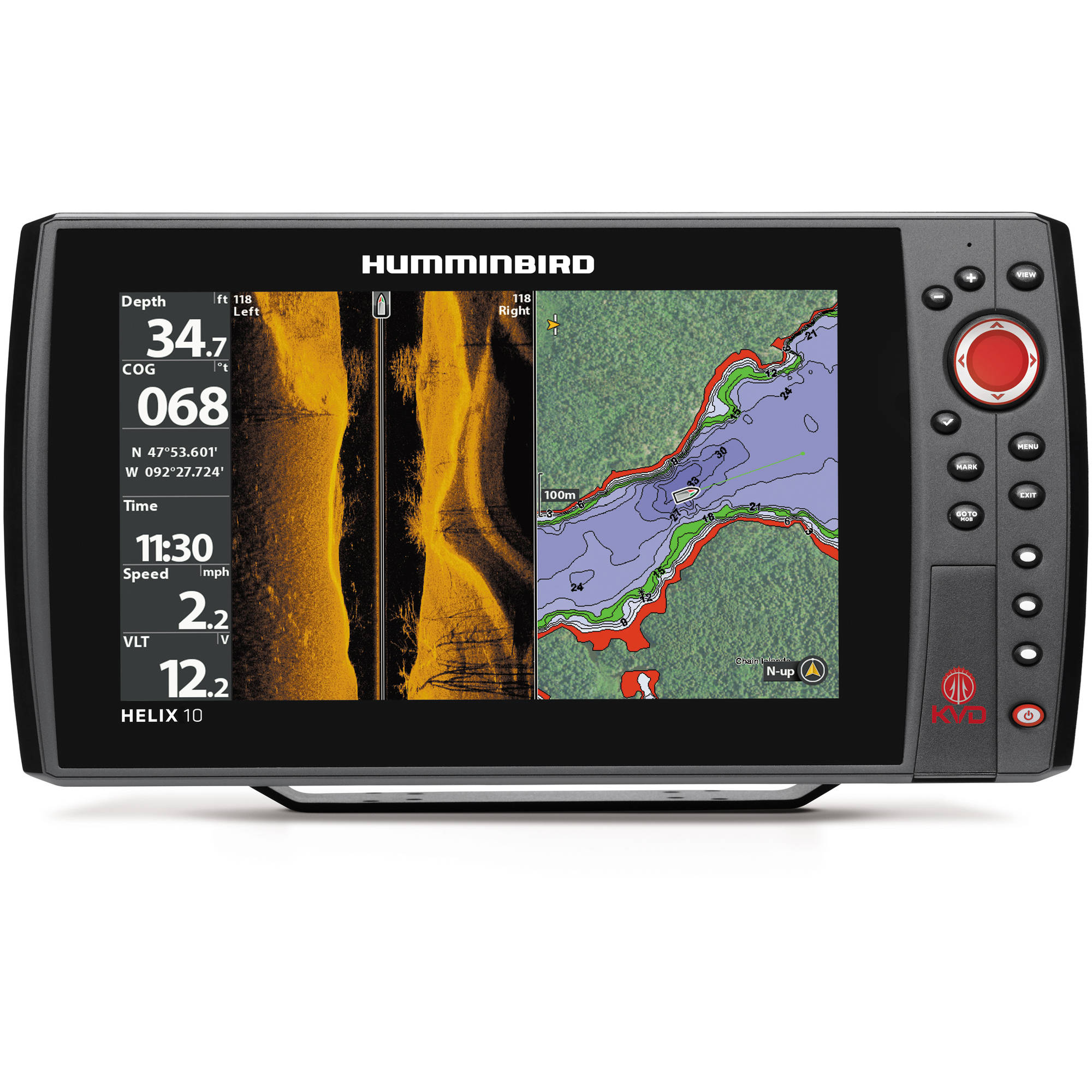 Humminbird HELIX 10 SI GPS KVD Fishfinder Combo with Side Imaging, Kevin Van Dam Edition