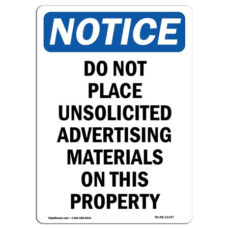 OSHA Notice Sign - Do Not Place Unsolicited Advertising 10