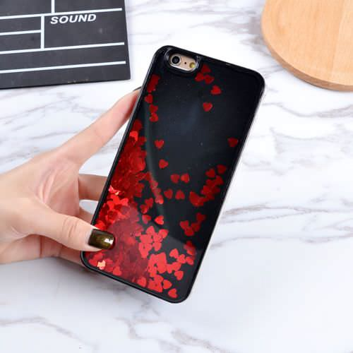 Black Floating Hearts Liquid Waterfall Bling Glitter Case Cover For iPhone 7 Plus 5.5""