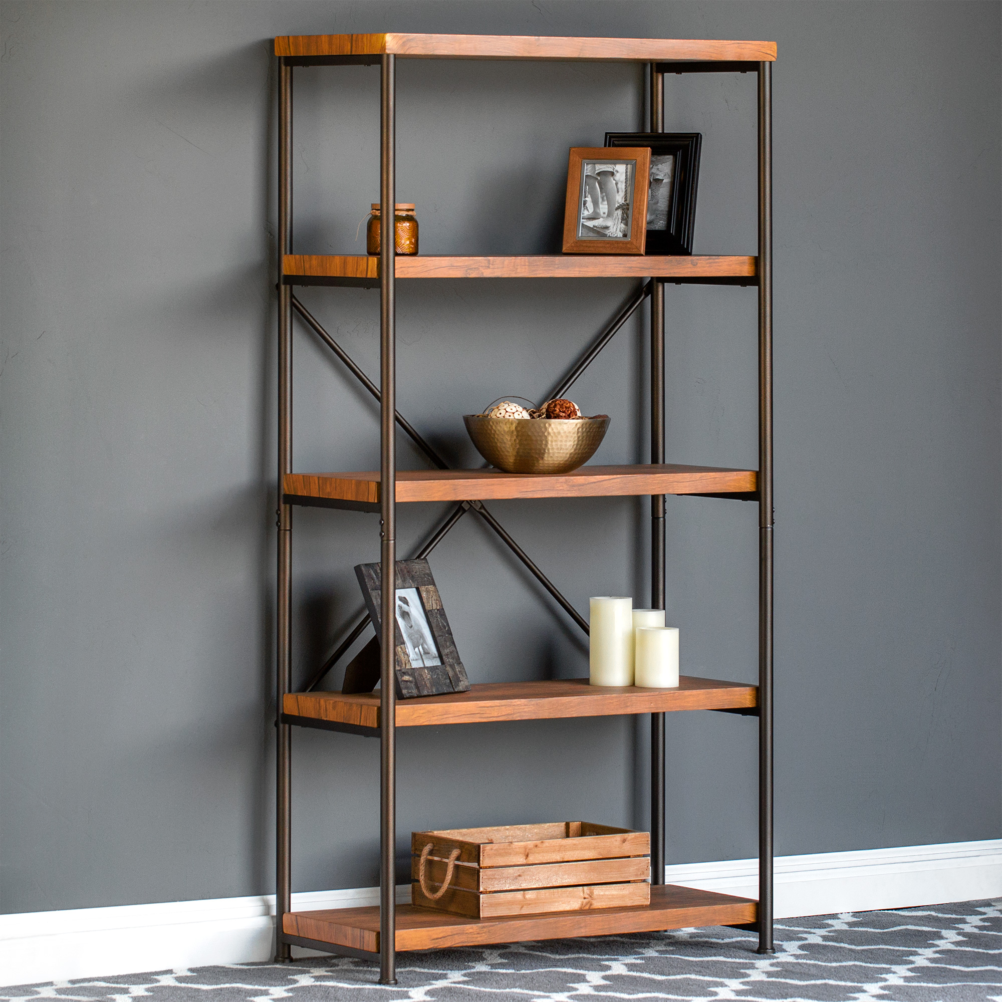 Best Choice Products 4-Tier Rustic Industrial Bookshelf Display Decor Accent for Living Room, Bedroom, Office w/ Metal Frame, Wood Shelves - Brown