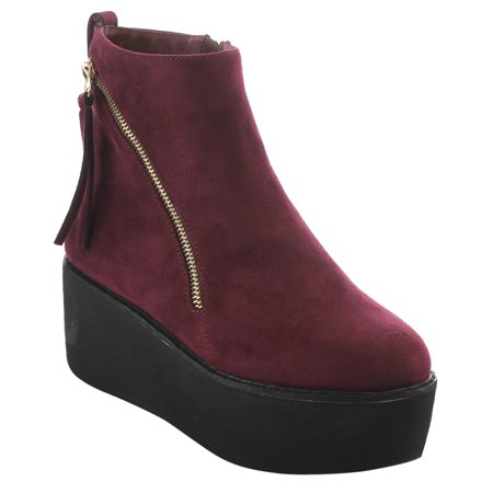 EI92 Women's Double Zippers Pull Tab Platform Wedge Ankle Booties