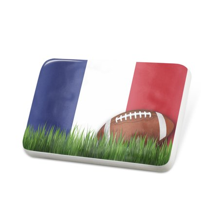 Porcelein Pin Football with Flag Reunion region France Lapel Badge – NEONBLOND
