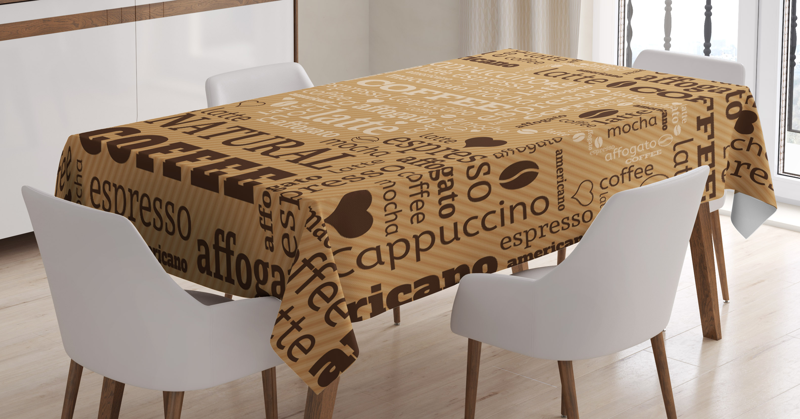 Modern Decor Tablecloth, Modern Typography Word Arrangements Tracking Coffee  Themed Beverage Design, Rectangular Table